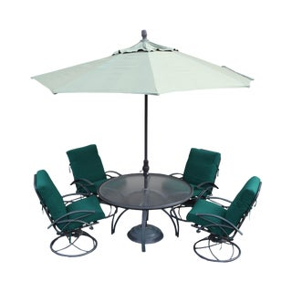 Homecrest Vintage 5 Piece Patio Dining Set Round Table + 4 Swivel Rocking Chairs For Sale