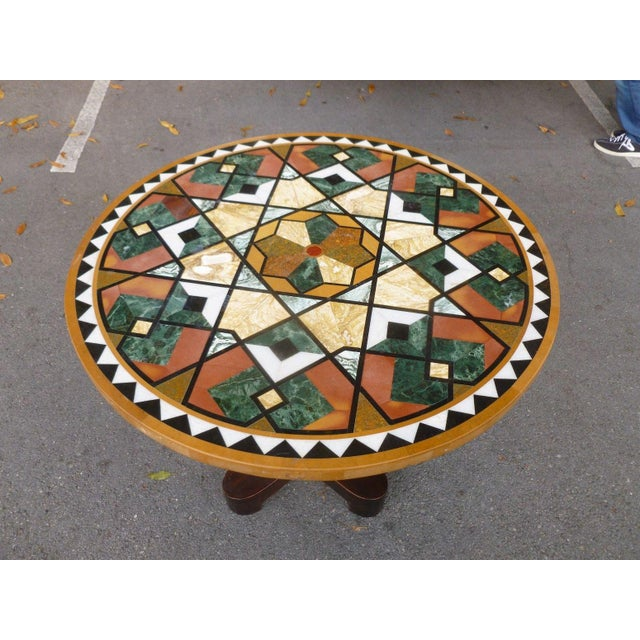 1990s Empire Stunning & Stylish Pietra Dura Inlaid Marble Table For Sale In Miami - Image 6 of 7
