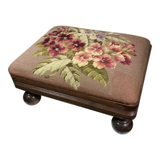 1940s Shabby Chic Needlepoint Footstool With Bun Feet For Sale