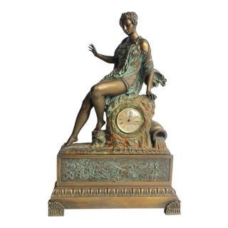 Exquisite Antique Bronze French Clock With Goddess Figurine For Sale