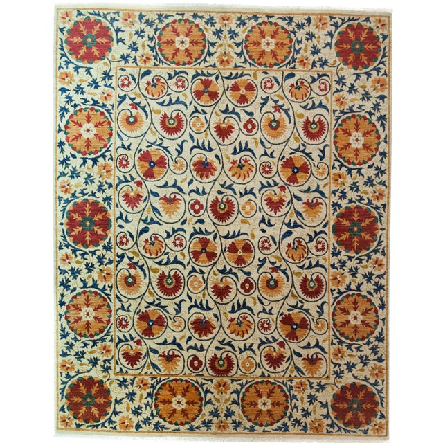 """Suzani Orange & Red Hand-Knotted Rug - 8'2"""" X 10'5"""" - Image 1 of 3"""