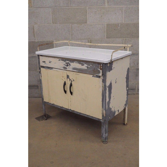 Antique Industrial Steel Metal Enamel Top Medical Cabinet For Sale - Image 10 of 13