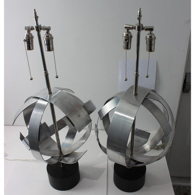 1970s Vintage Modern Armillary Style Aluminum Table Lamps - the Pair For Sale - Image 5 of 13