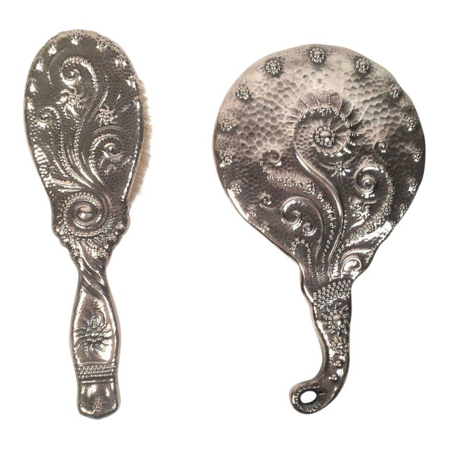 19th Century Sterling Silver Hand Mirror and Hair Brush For Sale