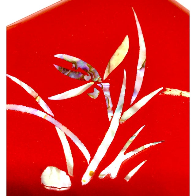 Paint Vintage Red Japanese Lacquered & Mother of Pearl Box For Sale - Image 7 of 13