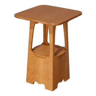 Arts & Crafts Limbert #240 Style Mission Oak Cutout Plant Stand by Mockton, 1939 For Sale