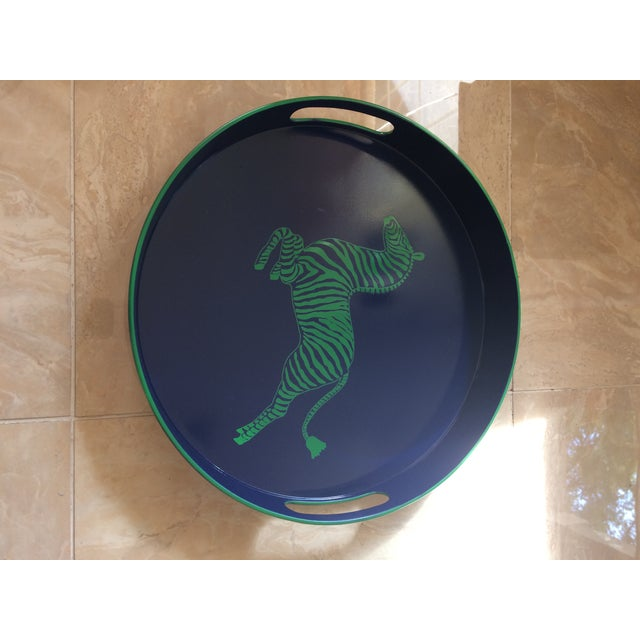 Scalamandre Zebra Scalamandre Inspired Navy and Green Tray For Sale - Image 4 of 11