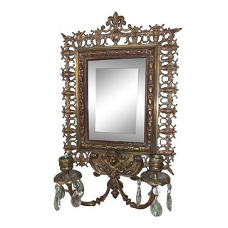 Victorian North Wind Wall Hanging Candelabras and Beveled Wall Mirror For Sale