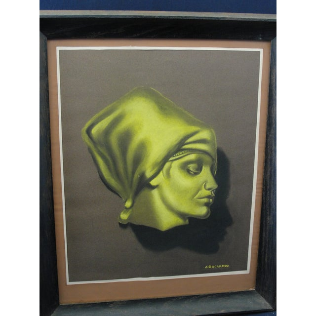 Vintage Pastel Chalk Drawing Portrait of a Woman by J. Sucarino Vintage Study Portrait of Woman done is green and black...