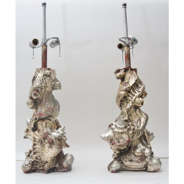 1970s 1970s Seashell Table Lamps Silvered Molded Resin by Sirmos - a Pair For Sale - Image 5 of 8