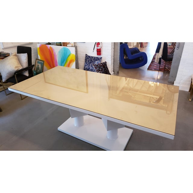 Lacquered White Pedestal Table With Bronze Glass Top For Sale - Image 4 of 5