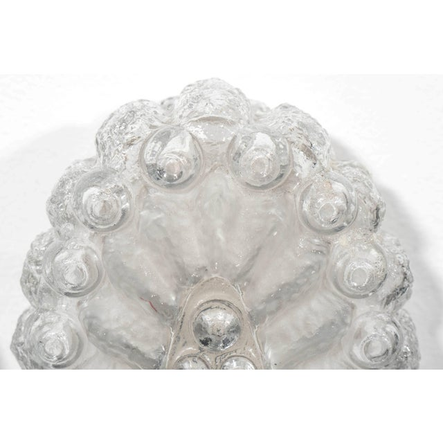 Mid-Century Modern Mid-Century Oval Sconces in Textured Glass with Frosted Detail - a Pair For Sale - Image 3 of 5