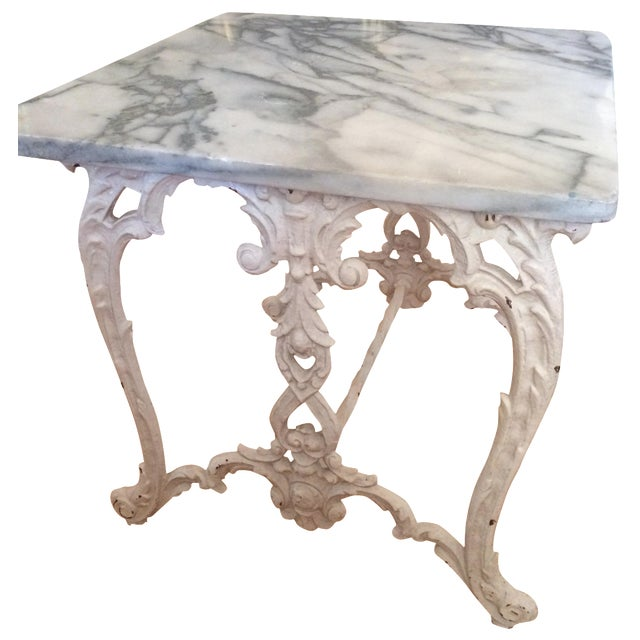 Marble & Cast Iron Side Table - Image 1 of 4