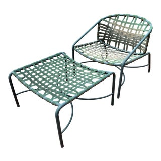 Brown Jordan Kantan Vinyl Strap Lounge Chair and Ottoman For Sale