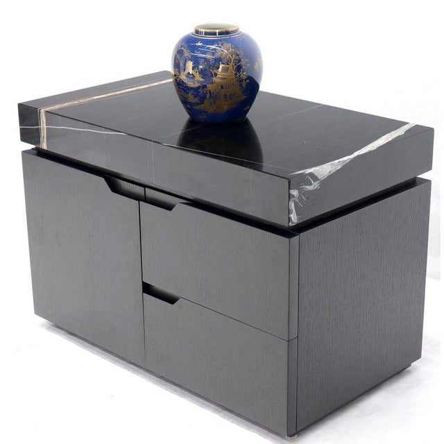 Black Black Marble Top Black Lacquer Contemporary Short Credenza Console For Sale - Image 8 of 13