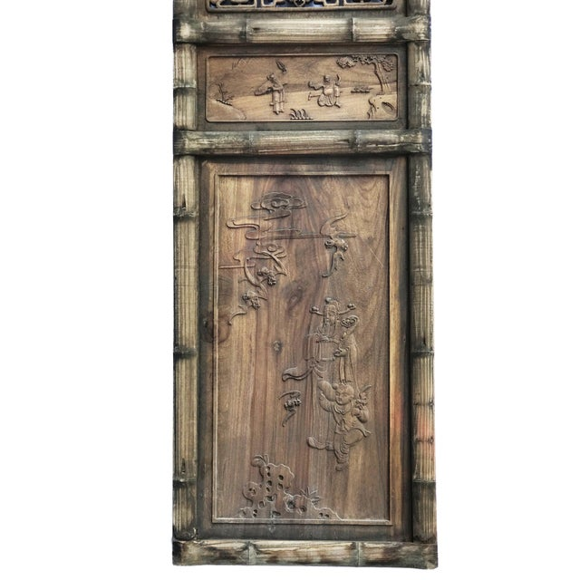 """1900 - 1909 Old Chinese Hand Carved Wood /Door /Panel 86"""" H For Sale - Image 5 of 9"""