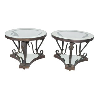 Midcentury Mexican Modernist Arturo Pani Bronze Iron Side Tables For Sale