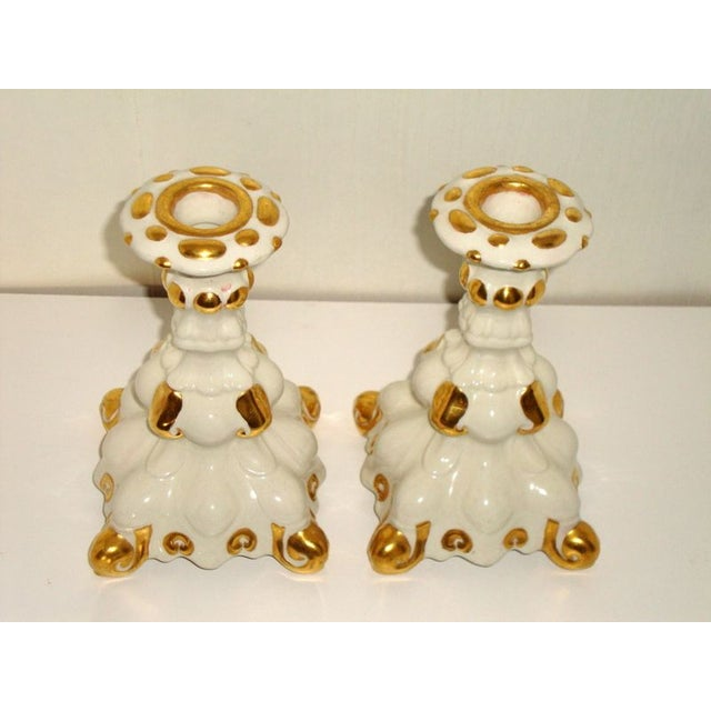 Holland Mold White & Gold Candle Holders - A Pair - Image 6 of 7