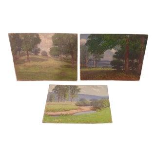 Vintage Mid-Century Landscape Oil Sketches - Set of 3 For Sale