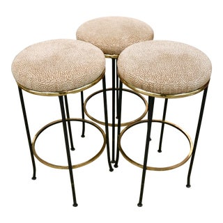 Vintage Modern Upholstered Bar Stools - Set of 3