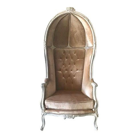 French Tufted Throne Balloon Chair For Sale
