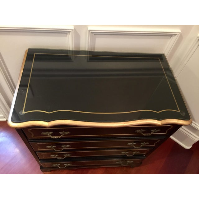 Black 1960s Hollywood Regency Black Lacquer Chest For Sale - Image 8 of 11