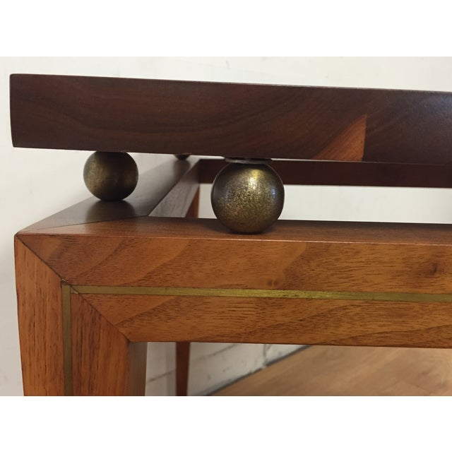 Mid-Century Solid Walnut & Brass Side Table - Image 8 of 11