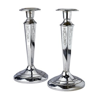 Cromwell Silver Mfg. Corp. Chromium Etched Candelabras - a Pair For Sale