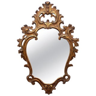 Vintage Mid-Century Baroque Style Carved Giltwood Mirror For Sale