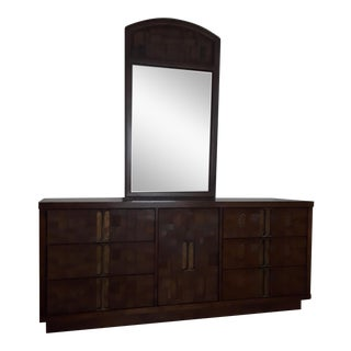 1973 Brutalist Walnut Lowboy Dresser With Mirror For Sale