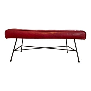 Mid-Century Modern Retro Danish Red Tufted Bench For Sale