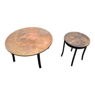 Round Copper Coffee Tables - a Pair For Sale