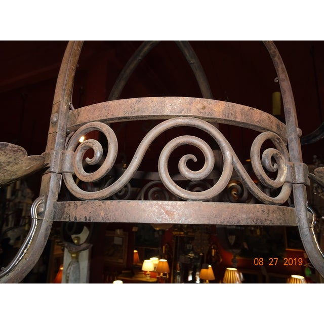 Vintage French Wrought Iron Chandelier For Sale - Image 9 of 12