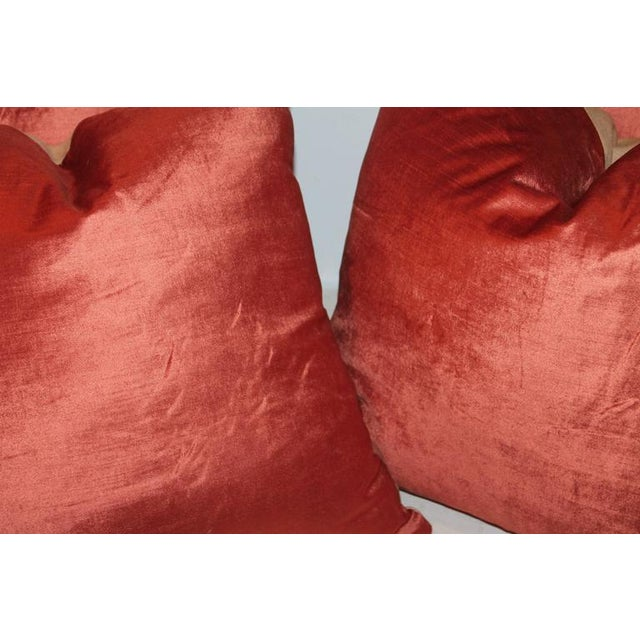 Silky Coral Velvet Pillows, Pair For Sale - Image 4 of 5