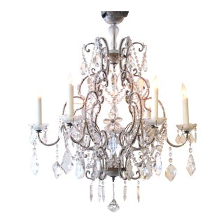 A Lustrous and Graceful Italian Rococo Style Cage-Form Beaded 6-Light Chandelier With Crystal Pendants, Flowers and Swags For Sale
