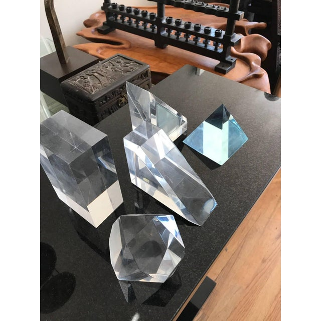 Set of Five Lucite Decorative Geometric Sculptures For Sale In Chicago - Image 6 of 11