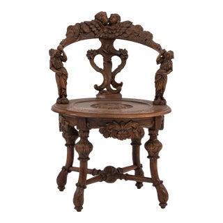 Italian Venetian Carved Arm Chair For Sale