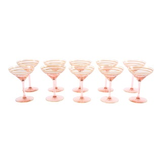 Mid 20th Century Crystal Martini Glasses - Set of 10 For Sale