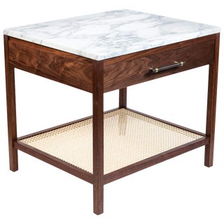 Custom-Made Walnut End Table With a Marble Top and Caned Bottom Shelf For Sale