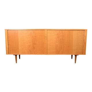 Danish Modern Tambour Door Lighted Media Sideboard W/ Pull-Out Shelves For Sale