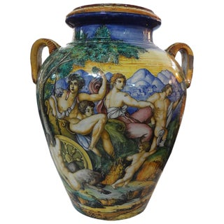 19th Century Italian Glazed Earthenware Urn Attributed to Urbino Workshop