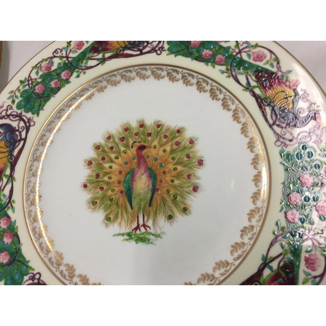 1930s 12 Wedgwood Peacock Plates Handpainted For Sale - Image 5 of 11