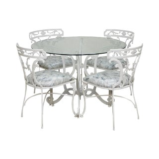 Molla Victorian Style White Cast Aluminum Round Glass Top Table & 4 Chair Dinette Set For Sale