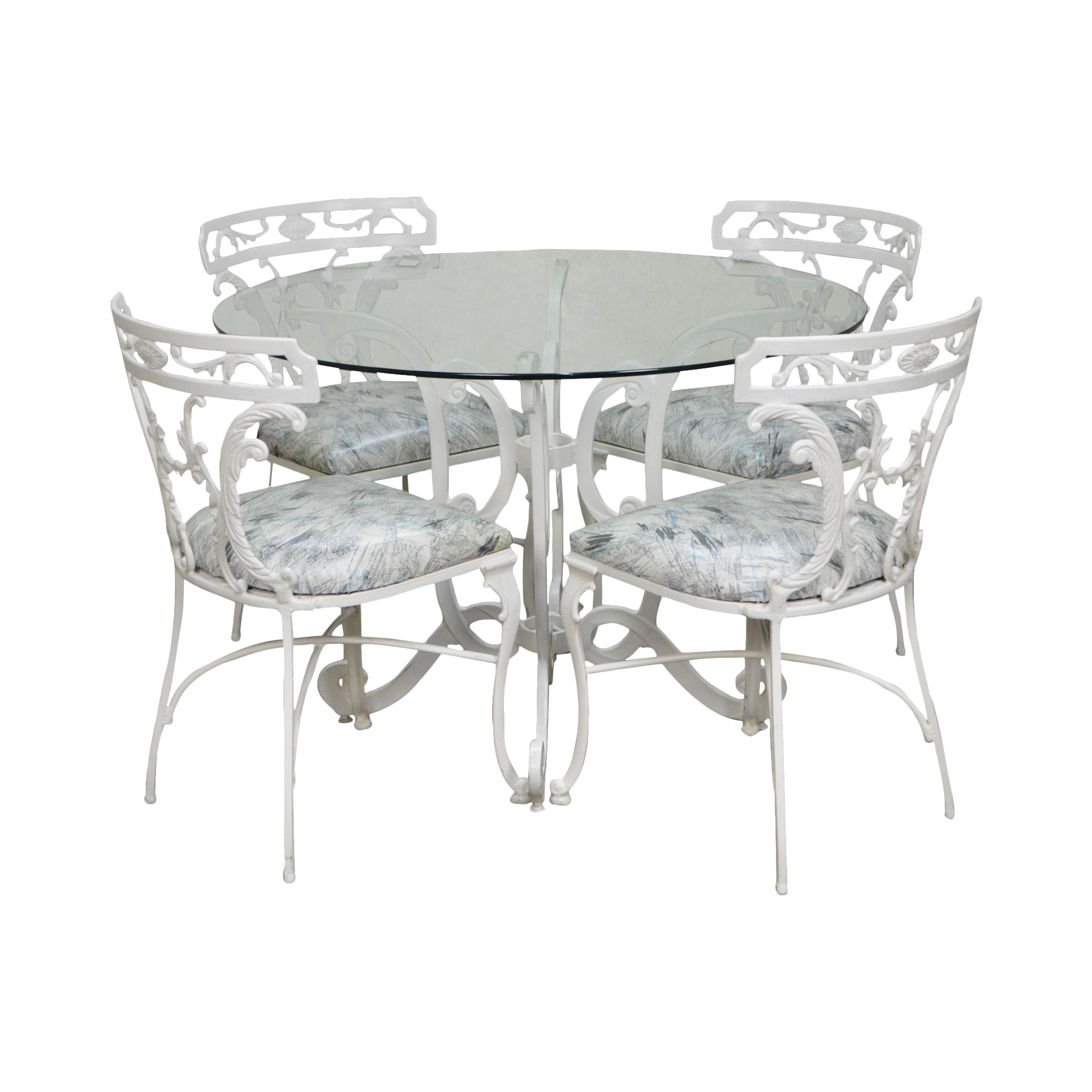 Molla Victorian Style White Cast Aluminum Round Glass Top Table U0026 4 Chair  Dinette Set