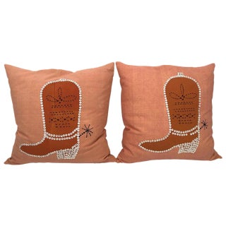 Vintage Folk Art Cowboy Boot Pillows For Sale