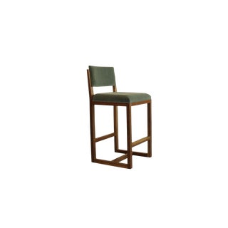 Mid Century-Style Crescent Barstool With Walnut & Brass