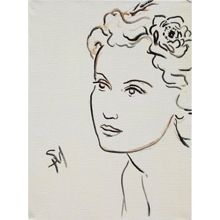"""""""Portrait With a Flower"""" Contemporary Acrylic Portrait Painting by Sarah Myers For Sale"""