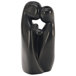 Large Carved and Polished Onyx Sculpture of Mother and Daughter Theme For Sale