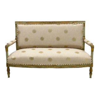 19th-C. Painted & Giltwood French Settee in Linen For Sale