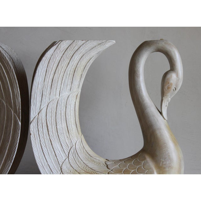 Abstract Vintage Hand Carved Solid Wood Twin Swan Console Table or End Table/Bar Table Bases - a Pair For Sale - Image 3 of 10